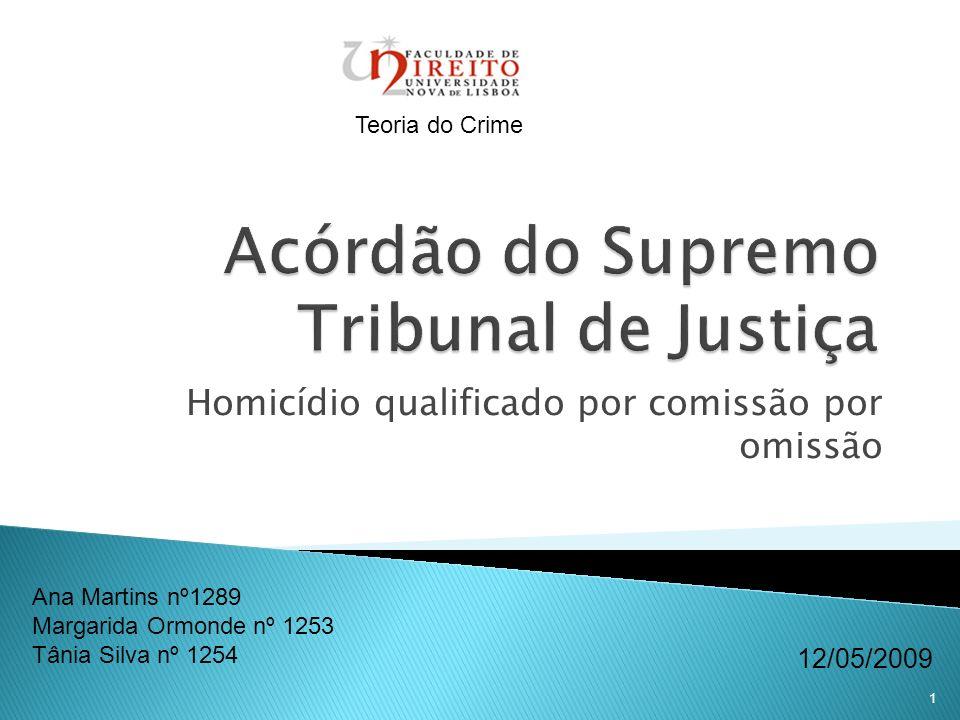 1 Homicídio qualificado por comissão por omissão Ana Martins nº1289 Margarida Ormonde nº 1253 Tânia Silva nº 1254 12/05/2009 Teoria do Crime