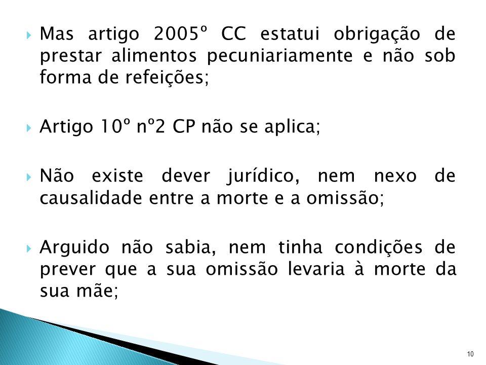 10 Mas artigo 2005º CC estatui obrigação de prestar alimentos pecuniariamente e não sob forma de refeições; Artigo 10º nº2 CP não se aplica; Não exist