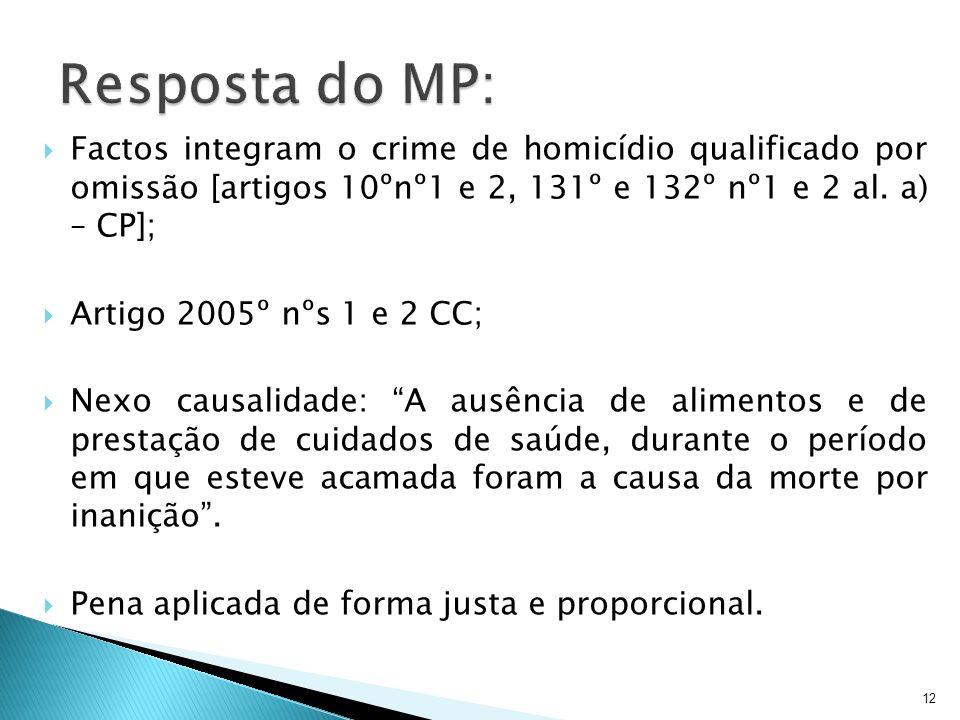 12 Factos integram o crime de homicídio qualificado por omissão [artigos 10ºnº1 e 2, 131º e 132º nº1 e 2 al. a) – CP]; Artigo 2005º nºs 1 e 2 CC; Nexo