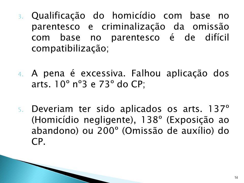14 3. Qualificação do homicídio com base no parentesco e criminalização da omissão com base no parentesco é de difícil compatibilização; 4. A pena é e