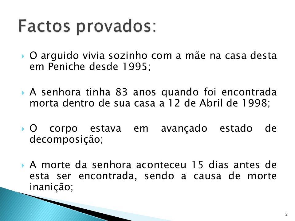 2 O arguido vivia sozinho com a mãe na casa desta em Peniche desde 1995; A senhora tinha 83 anos quando foi encontrada morta dentro de sua casa a 12 d