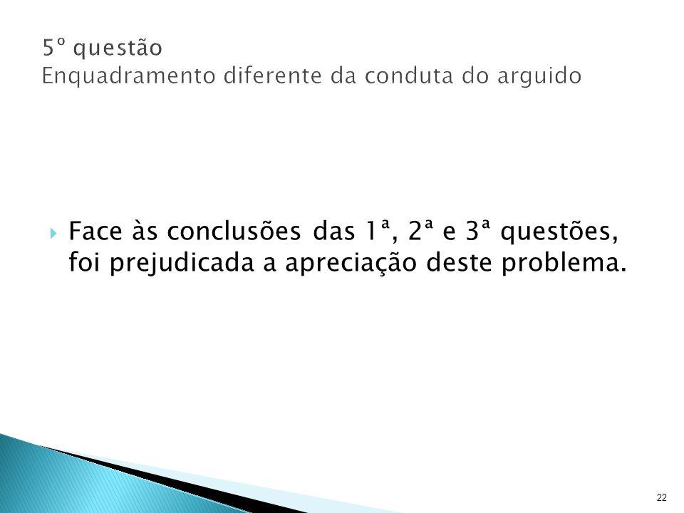 22 Face às conclusões das 1ª, 2ª e 3ª questões, foi prejudicada a apreciação deste problema.