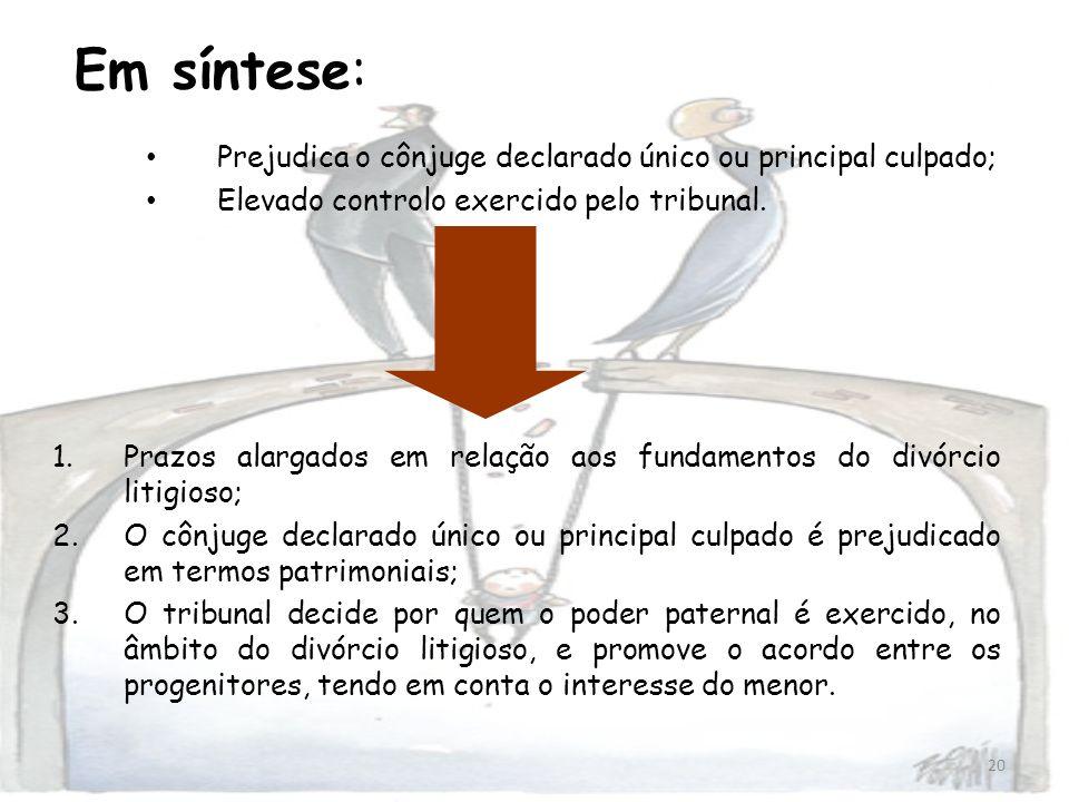 20 Em síntese: Prejudica o cônjuge declarado único ou principal culpado; Elevado controlo exercido pelo tribunal. 1.Prazos alargados em relação aos fu