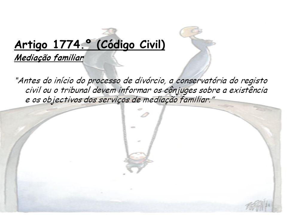 24 Artigo 1774.º (Código Civil) Mediação familiar Antes do início do processo de divórcio, a conservatória do registo civil ou o tribunal devem inform