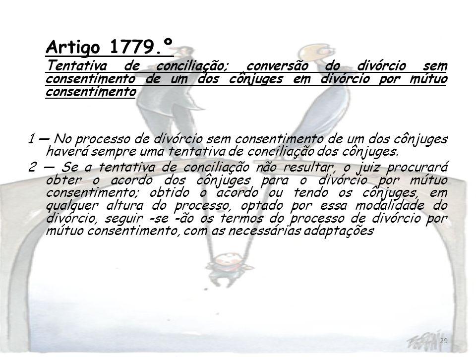 29 Artigo 1779.º Tentativa de conciliação; conversão do divórcio sem consentimento de um dos cônjuges em divórcio por mútuo consentimento 1 No process