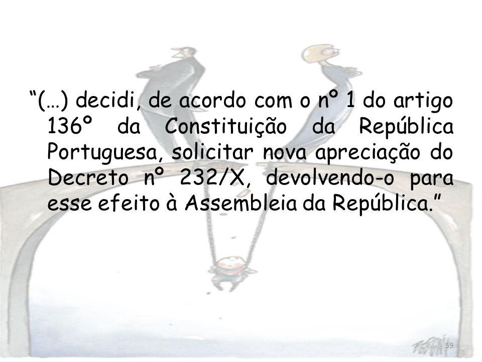 59 (…) decidi, de acordo com o nº 1 do artigo 136º da Constituição da República Portuguesa, solicitar nova apreciação do Decreto nº 232/X, devolvendo-