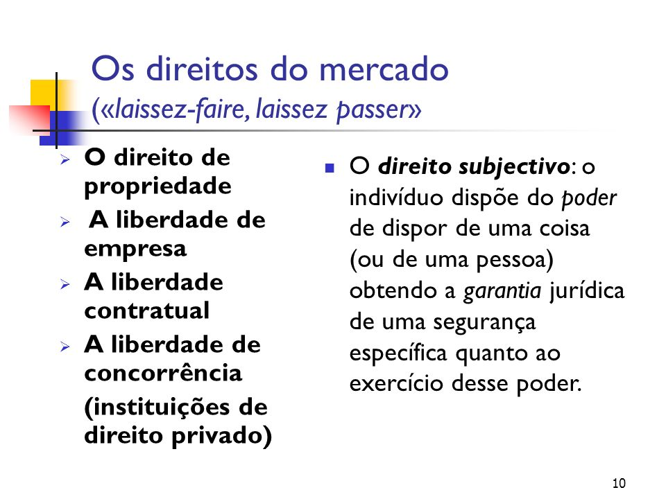 Os direitos do mercado («laissez-faire, laissez passer» O direito de propriedade A liberdade de empresa A liberdade contratual A liberdade de concorrê
