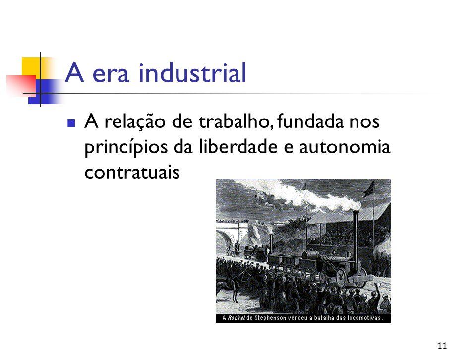 A era industrial A relação de trabalho, fundada nos princípios da liberdade e autonomia contratuais 11