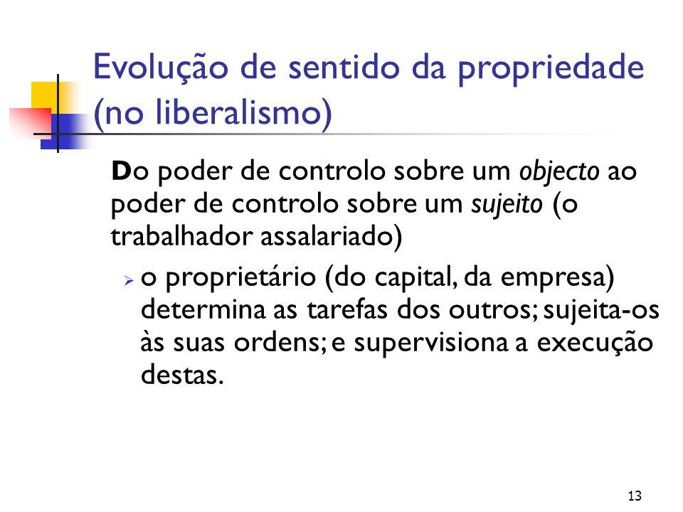 13 Evolução de sentido da propriedade (no liberalismo) D o poder de controlo sobre um objecto ao poder de controlo sobre um sujeito (o trabalhador ass