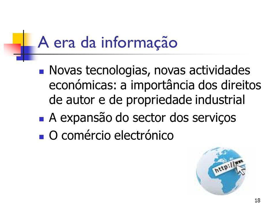 18 A era da informação Novas tecnologias, novas actividades económicas: a importância dos direitos de autor e de propriedade industrial A expansão do sector dos serviços O comércio electrónico