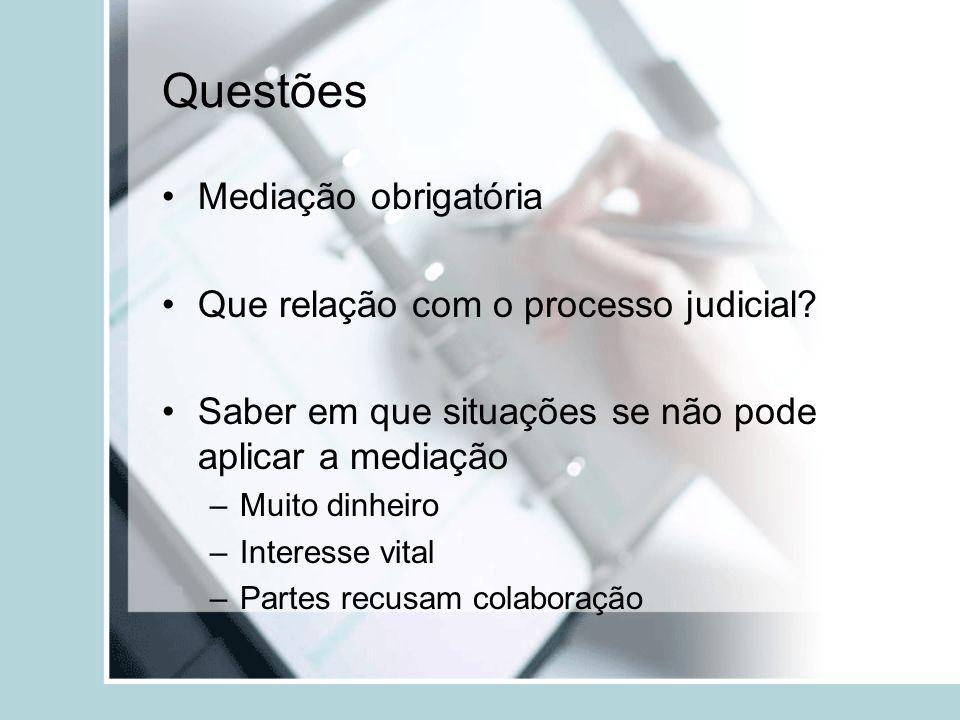 Questões Mediação obrigatória Que relação com o processo judicial? Saber em que situações se não pode aplicar a mediação –Muito dinheiro –Interesse vi
