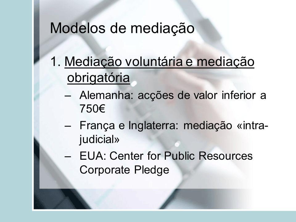 Modelos de mediação 1. Mediação voluntária e mediação obrigatória –Alemanha: acções de valor inferior a 750 –França e Inglaterra: mediação «intra- jud