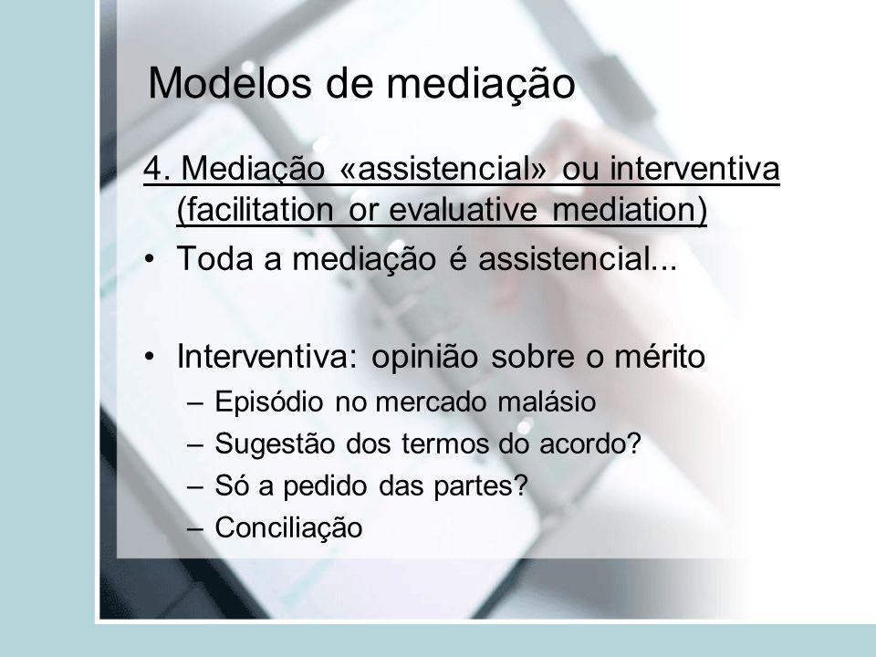 Modelos de mediação 4. Mediação «assistencial» ou interventiva (facilitation or evaluative mediation) Toda a mediação é assistencial... Interventiva: