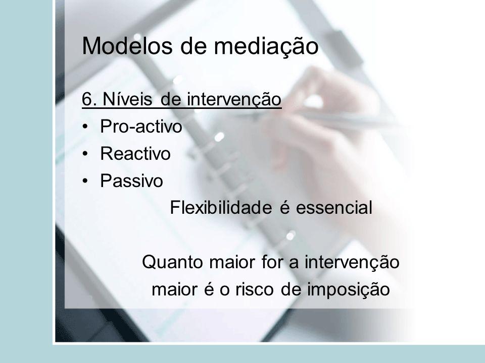 Modelos de mediação 6. Níveis de intervenção Pro-activo Reactivo Passivo Flexibilidade é essencial Quanto maior for a intervenção maior é o risco de i