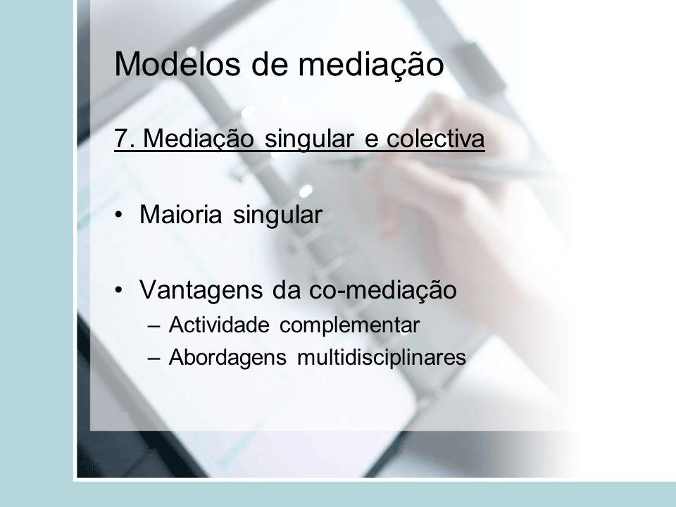Modelos de mediação 7. Mediação singular e colectiva Maioria singular Vantagens da co-mediação –Actividade complementar –Abordagens multidisciplinares