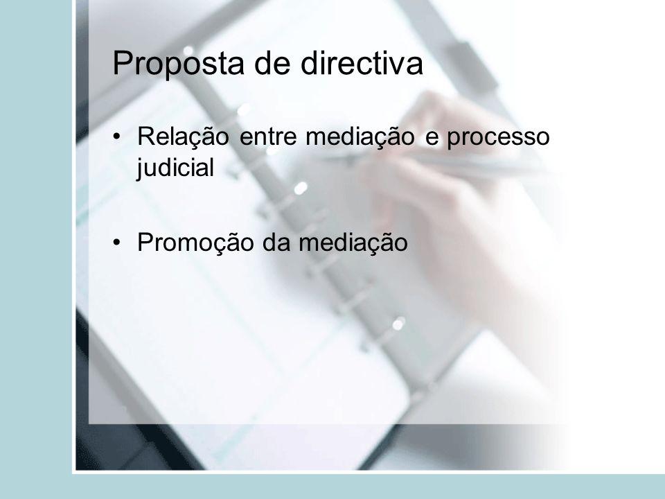 Proposta de directiva Relação entre mediação e processo judicial Promoção da mediação
