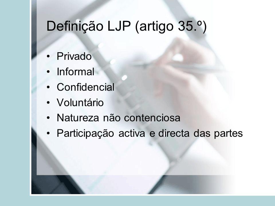 Definição LJP (artigo 35.º) Privado Informal Confidencial Voluntário Natureza não contenciosa Participação activa e directa das partes