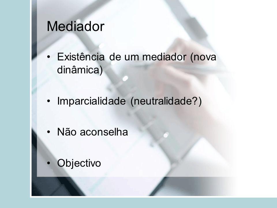 Mediador Existência de um mediador (nova dinâmica) Imparcialidade (neutralidade?) Não aconselha Objectivo