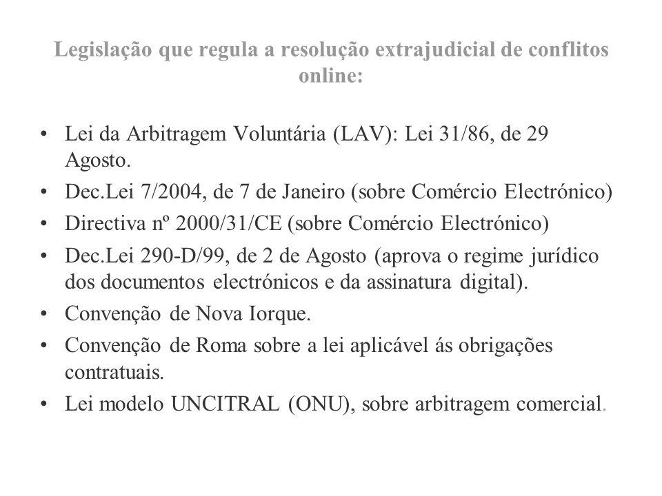 Legislação que regula a resolução extrajudicial de conflitos online: Lei da Arbitragem Voluntária (LAV): Lei 31/86, de 29 Agosto.