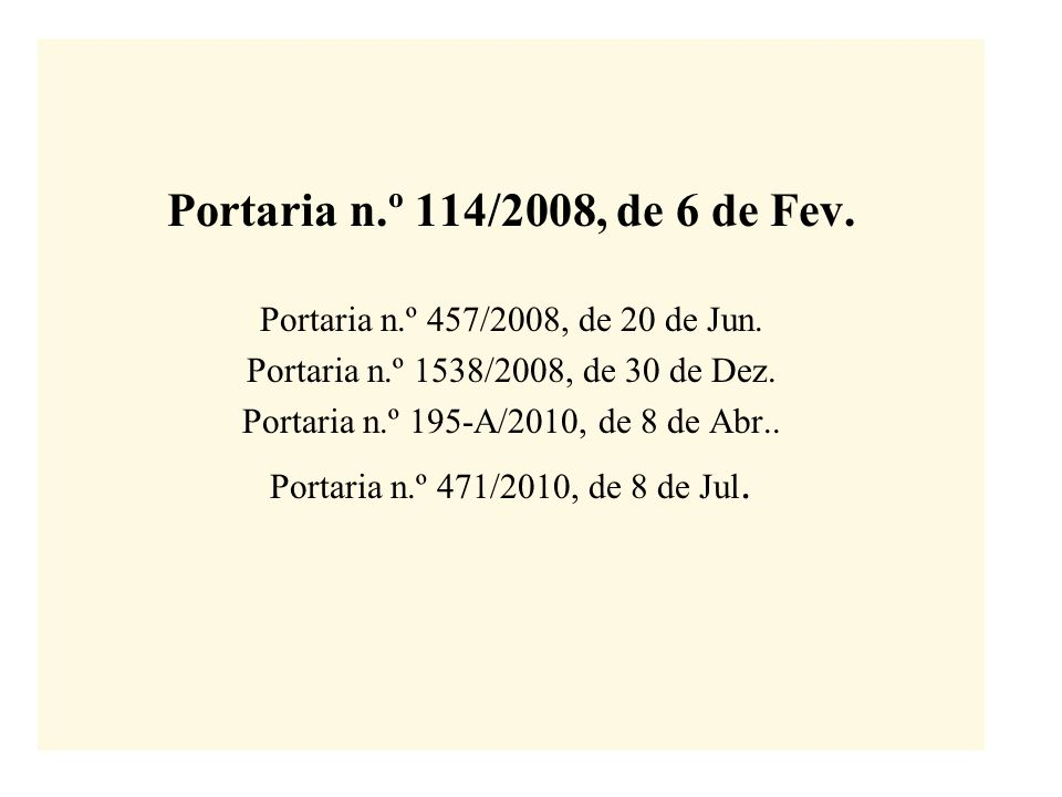 Portaria n.º 114/2008, de 6 de Fev.Portaria n.º 457/2008, de 20 de Jun.