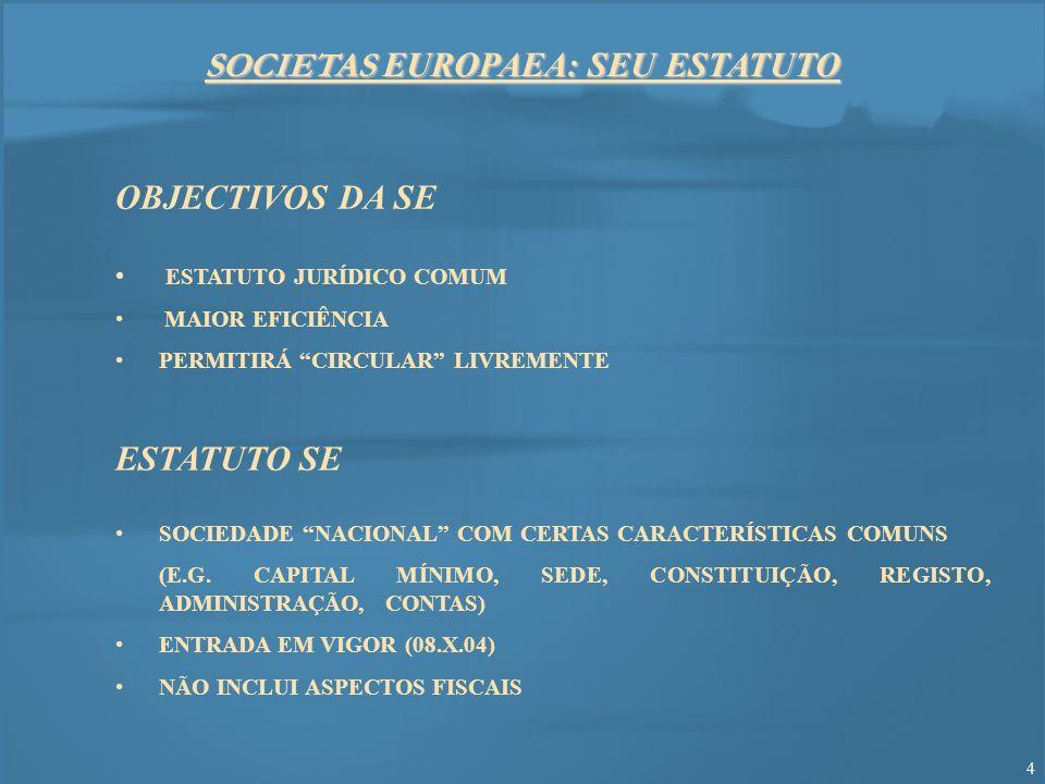 15 MAIOR MOBILIDADE PARA SOCIEDADES EMIGRAÇÃO DE SOCIEDADES « REGRAS SOCIETÁRIAS» NA U.E.