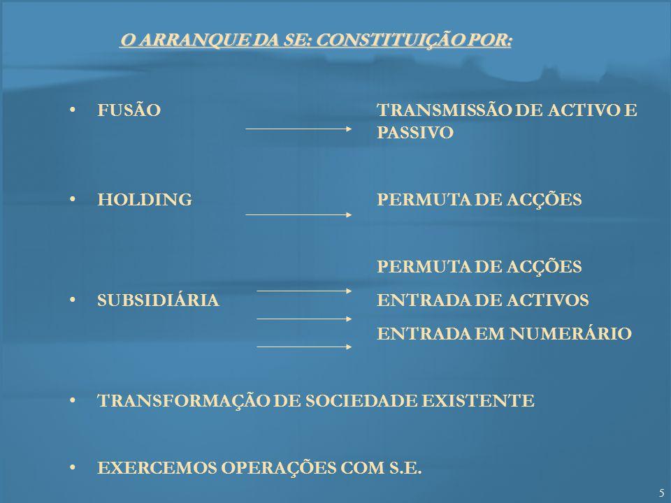 6 CONSTITUIÇÃO DE UMA S.E.