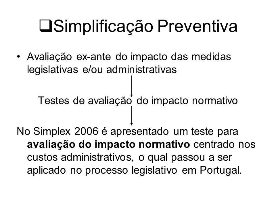 Simplificação Preventiva Avaliação ex-ante do impacto das medidas legislativas e/ou administrativas Testes de avaliação do impacto normativo No Simplex 2006 é apresentado um teste para avaliação do impacto normativo centrado nos custos administrativos, o qual passou a ser aplicado no processo legislativo em Portugal.