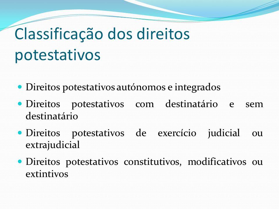 Classificação dos direitos potestativos Direitos potestativos autónomos e integrados Direitos potestativos com destinatário e sem destinatário Direito