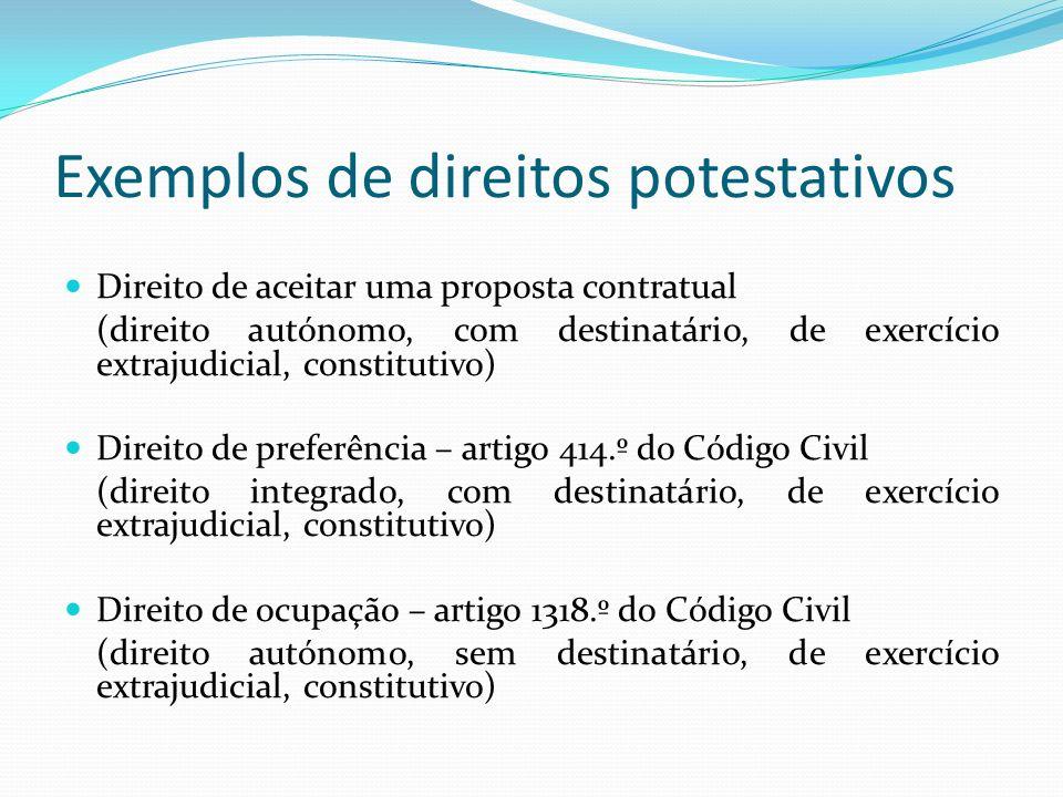 Exemplos de direitos potestativos Direito de aceitar uma proposta contratual (direito autónomo, com destinatário, de exercício extrajudicial, constitu