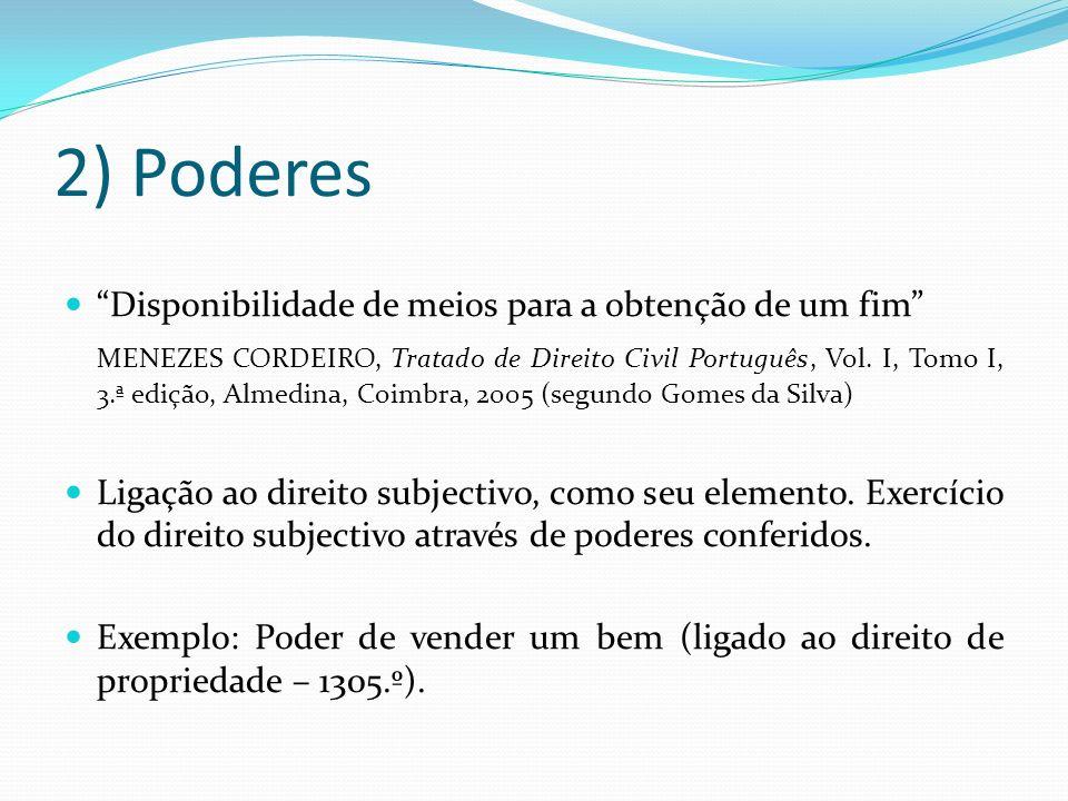2) Poderes Disponibilidade de meios para a obtenção de um fim MENEZES CORDEIRO, Tratado de Direito Civil Português, Vol. I, Tomo I, 3.ª edição, Almedi
