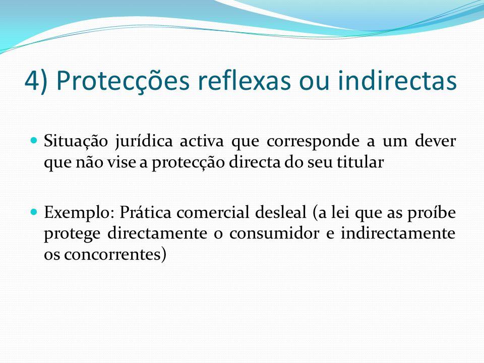 4) Protecções reflexas ou indirectas Situação jurídica activa que corresponde a um dever que não vise a protecção directa do seu titular Exemplo: Prát