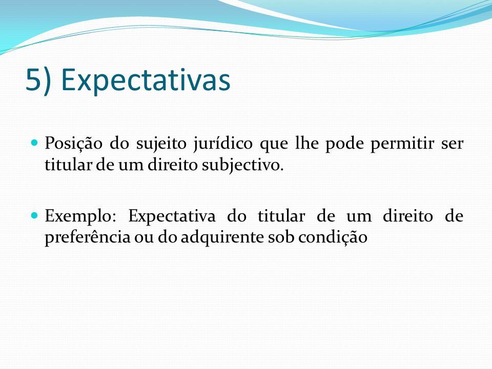 5) Expectativas Posição do sujeito jurídico que lhe pode permitir ser titular de um direito subjectivo. Exemplo: Expectativa do titular de um direito