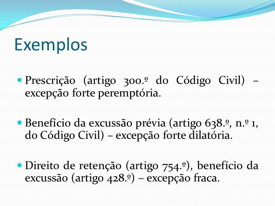 Exemplos Prescrição (artigo 300.º do Código Civil) – excepção forte peremptória. Benefício da excussão prévia (artigo 638.º, n.º 1, do Código Civil) –
