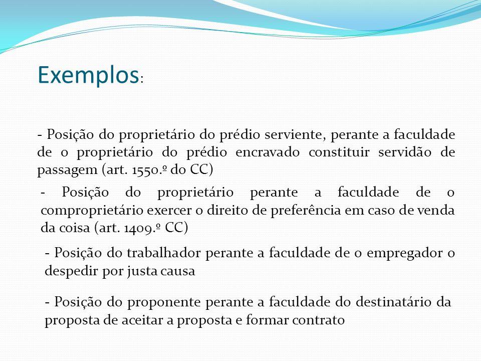 Exemplos : - Posição do proprietário do prédio serviente, perante a faculdade de o proprietário do prédio encravado constituir servidão de passagem (a
