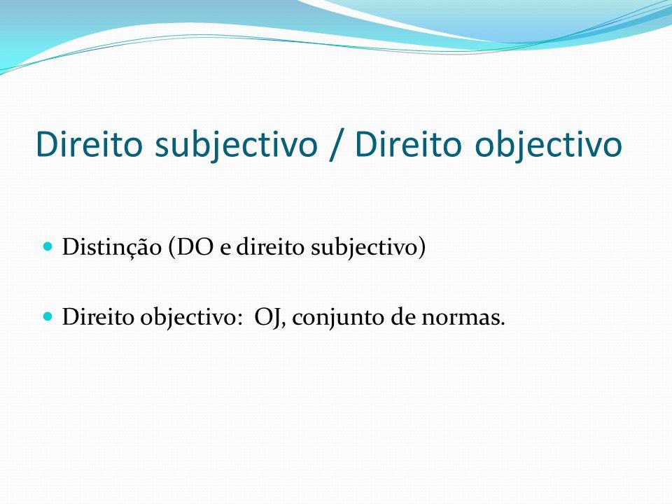 Direito subjectivo / Direito objectivo Distinção (DO e direito subjectivo) Direito objectivo: OJ, conjunto de normas.
