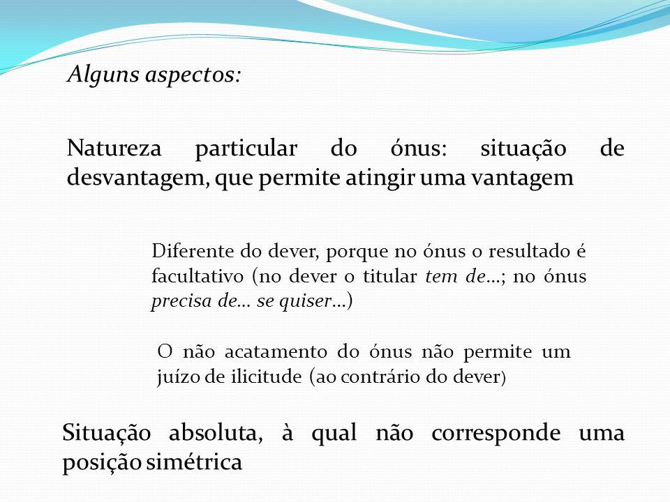 Alguns aspectos: Natureza particular do ónus: situação de desvantagem, que permite atingir uma vantagem Diferente do dever, porque no ónus o resultado