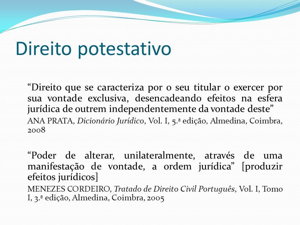 Direito potestativo Direito que se caracteriza por o seu titular o exercer por sua vontade exclusiva, desencadeando efeitos na esfera jurídica de outr