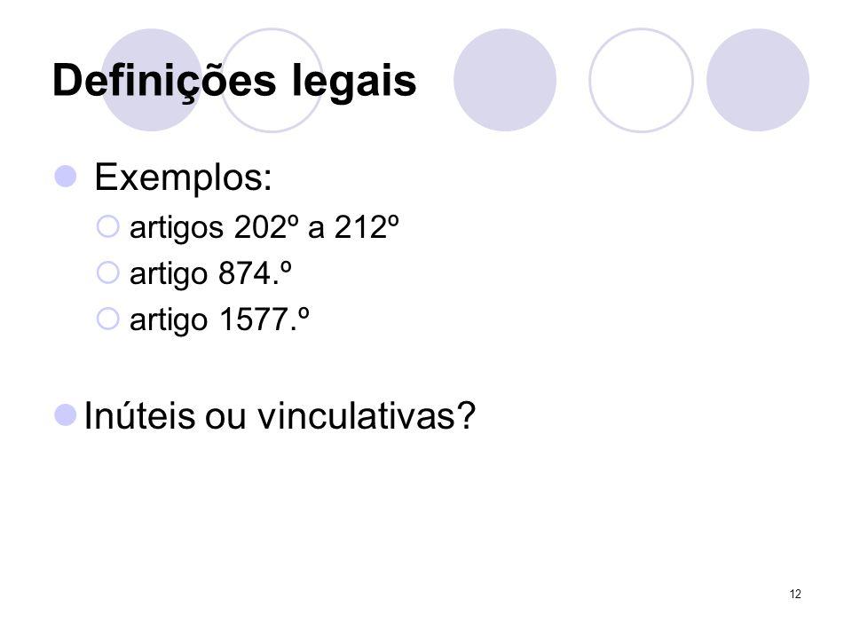 12 Definições legais Exemplos: artigos 202º a 212º artigo 874.º artigo 1577.º Inúteis ou vinculativas?