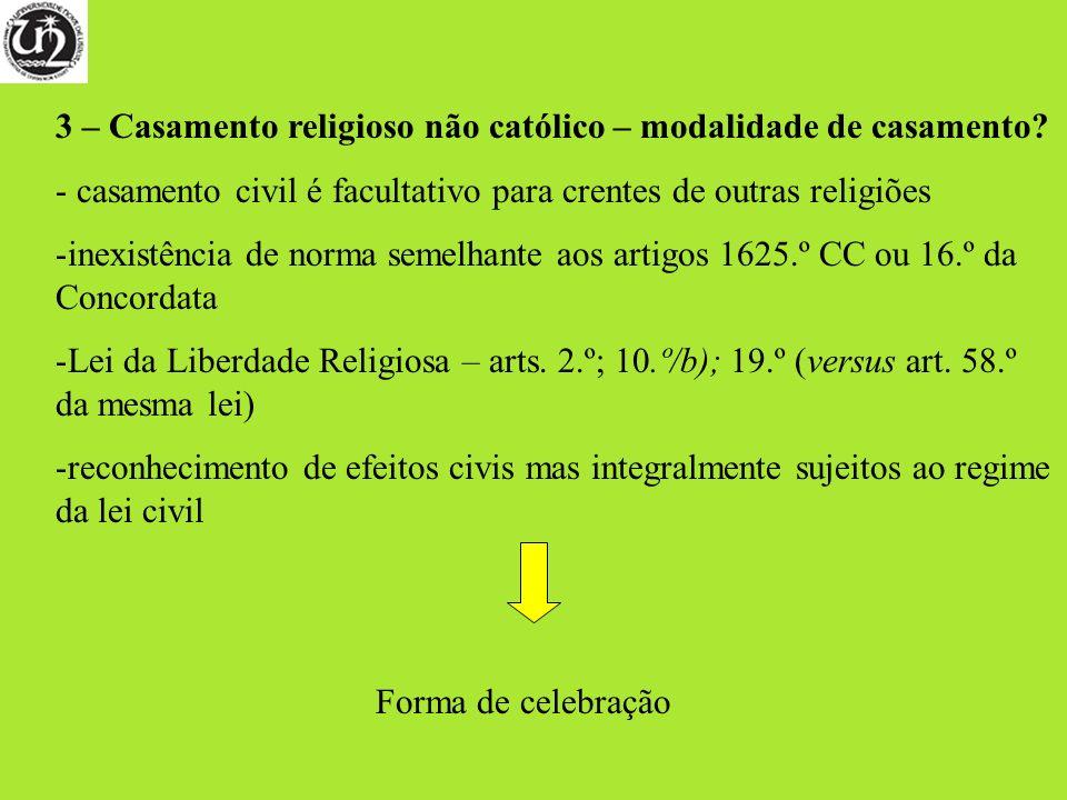 3 – Casamento religioso não católico – modalidade de casamento? - casamento civil é facultativo para crentes de outras religiões -inexistência de norm