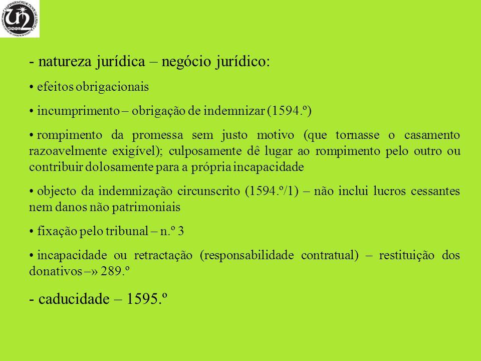 - natureza jurídica – negócio jurídico: efeitos obrigacionais incumprimento – obrigação de indemnizar (1594.º) rompimento da promessa sem justo motivo