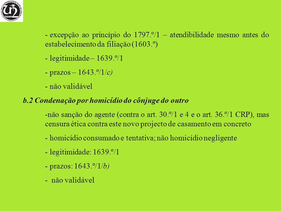 - excepção ao princípio do 1797.º/1 – atendibilidade mesmo antes do estabelecimento da filiação (1603.º) - legitimidade – 1639.º/1 - prazos – 1643.º/1