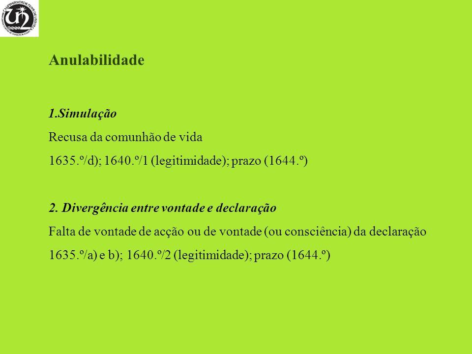 Anulabilidade 1.Simulação Recusa da comunhão de vida 1635.º/d); 1640.º/1 (legitimidade); prazo (1644.º) 2. Divergência entre vontade e declaração Falt