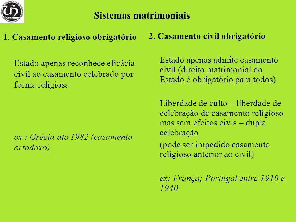 1. Casamento religioso obrigatório Estado apenas reconhece eficácia civil ao casamento celebrado por forma religiosa ex.: Grécia até 1982 (casamento o