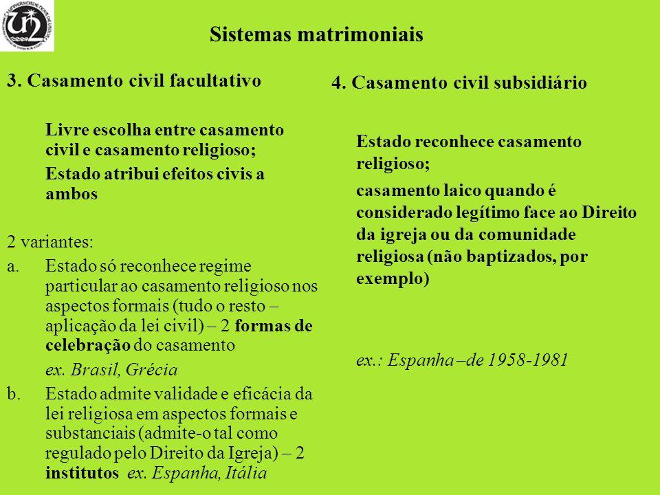 3. Casamento civil facultativo Livre escolha entre casamento civil e casamento religioso; Estado atribui efeitos civis a ambos 2 variantes: a.Estado s