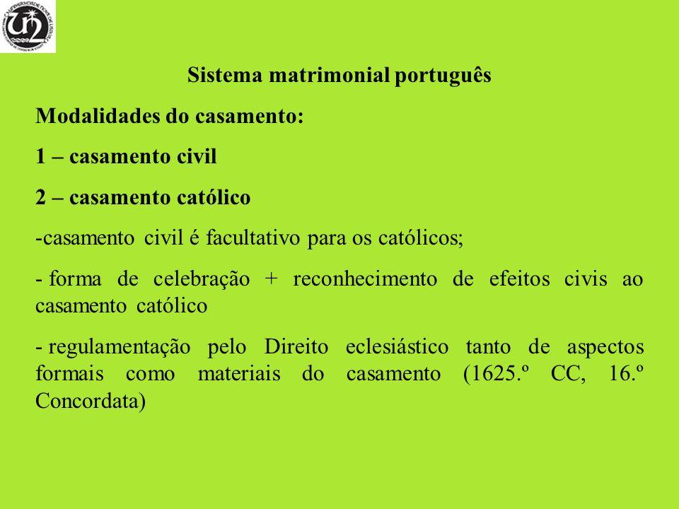 Sistema matrimonial português Modalidades do casamento: 1 – casamento civil 2 – casamento católico -casamento civil é facultativo para os católicos; -