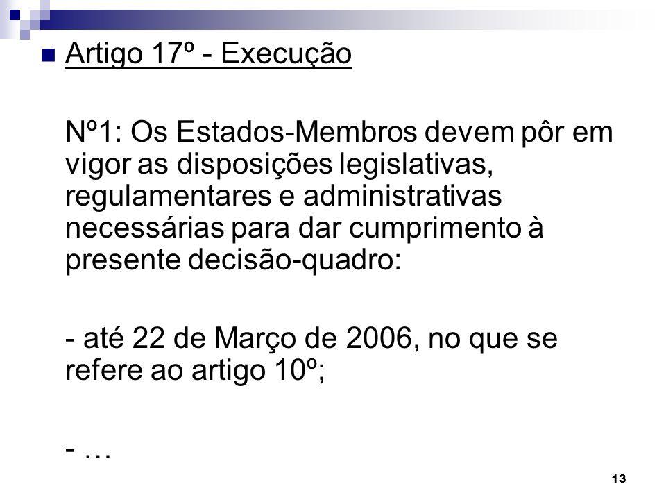 13 Artigo 17º - Execução Nº1: Os Estados-Membros devem pôr em vigor as disposições legislativas, regulamentares e administrativas necessárias para dar