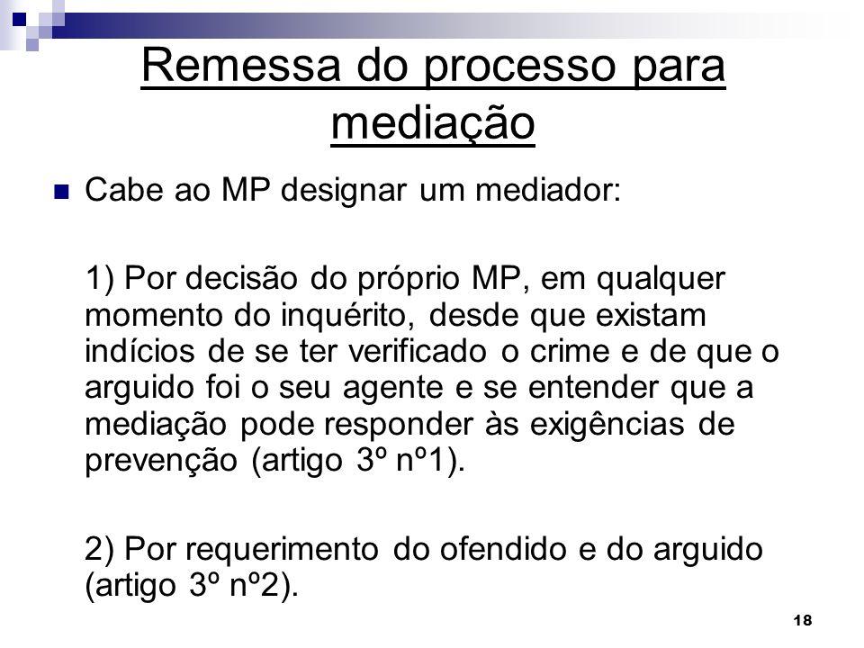 18 Remessa do processo para mediação Cabe ao MP designar um mediador: 1) Por decisão do próprio MP, em qualquer momento do inquérito, desde que exista
