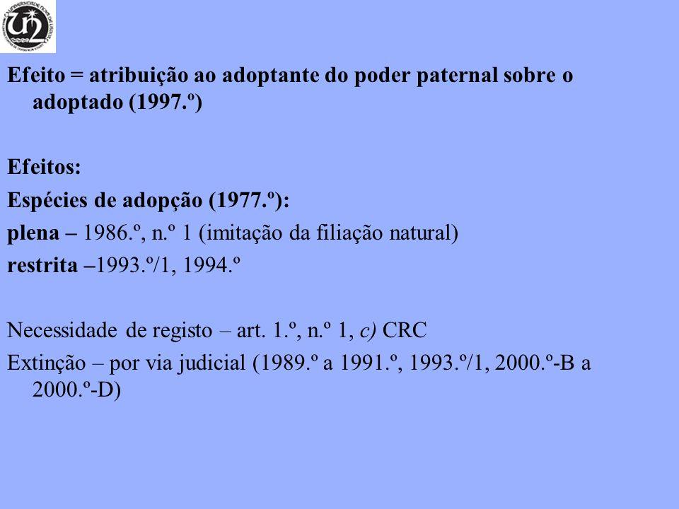 Efeito = atribuição ao adoptante do poder paternal sobre o adoptado (1997.º) Efeitos: Espécies de adopção (1977.º): plena – 1986.º, n.º 1 (imitação da
