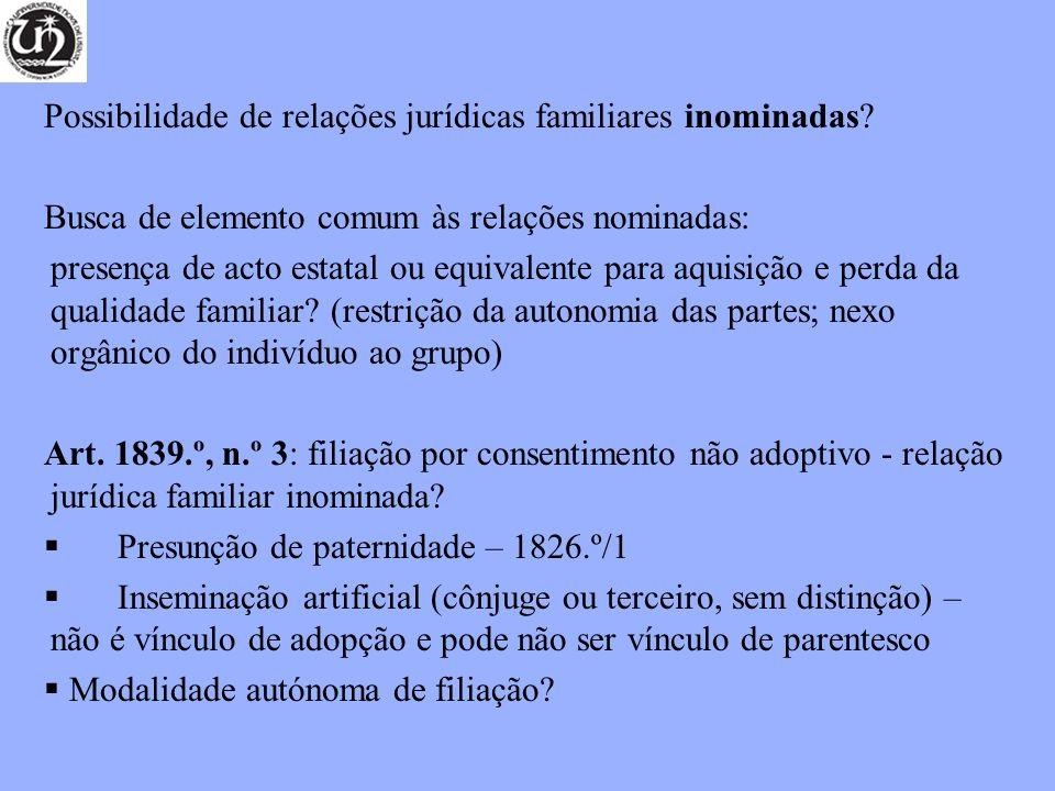 Possibilidade de relações jurídicas familiares inominadas.