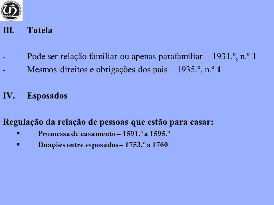 III. Tutela -Pode ser relação familiar ou apenas parafamiliar – 1931.º, n.º 1 -Mesmos direitos e obrigações dos pais – 1935.º, n.º 1 IV.Esposados Regu